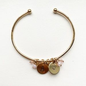 """Chic gold & pink bead letter """"A"""" charm bracelet"""